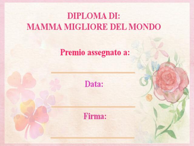diploma per festa mamma
