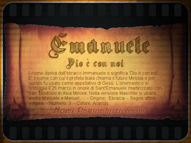 Emanuele significato nome