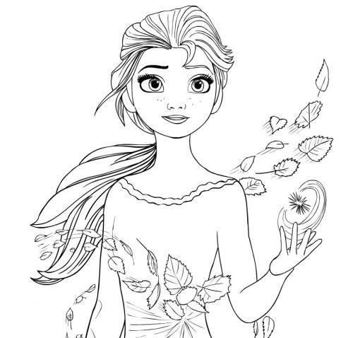 Anna di Frozen tra le foglie