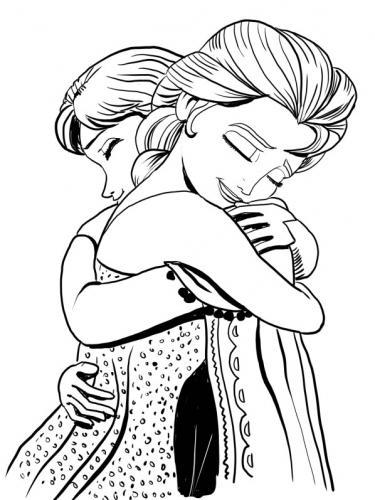 Anna ed Elsa si abbracciano