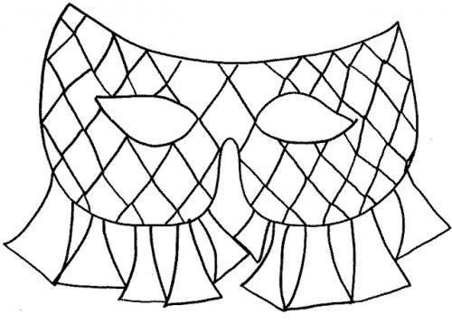 Maschera Arlecchino da colorare