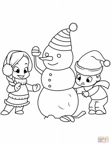 Bambini che costruiscono un pupazzo di neve da colorare