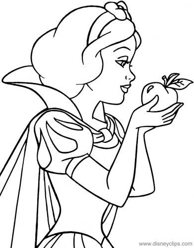 Biancaneve che tiene un mela