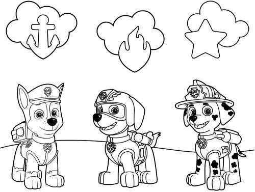 Disegni cuccioli Paw Patrol da colorare