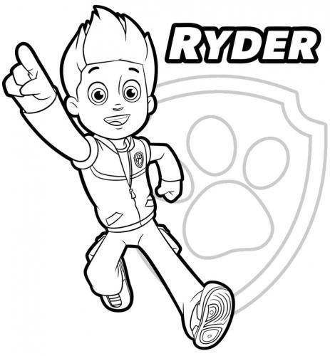 Disegni Ryder Paw Patrol da colorare