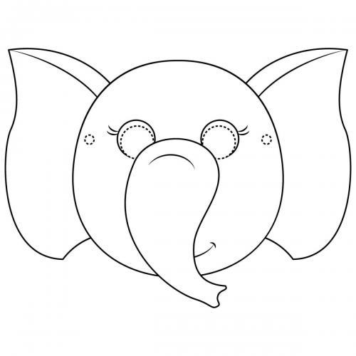 Maschere di carnevale da colorare elefante