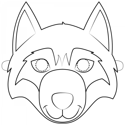 Maschere di carnevale da colorare lupo