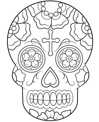 Maschere di carnevale da colorare teschio