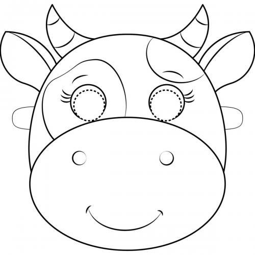 Maschere di carnevale da colorare mucca