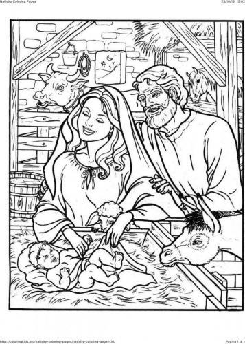 Giuseppe e Maria guardano Gesù bambino
