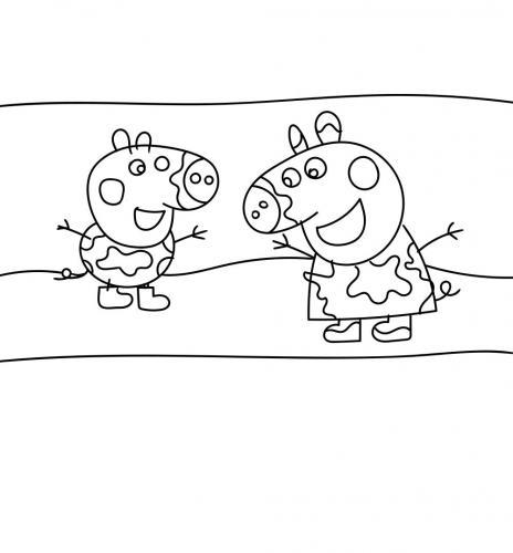 Peppa Pig salta nella pozzanghera con George