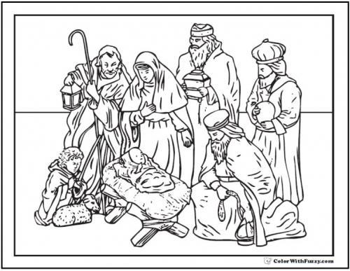 Personaggi ammirano Gesù bambino