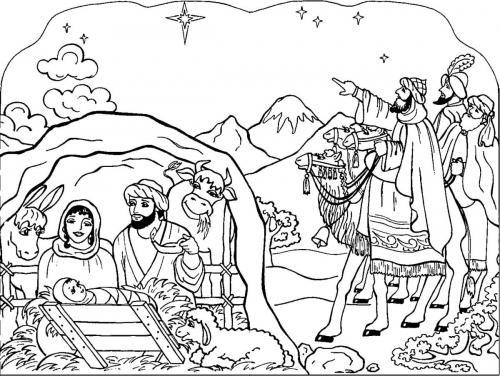 Presepe completo con capanna e Re Magi che indicano la stella cometa