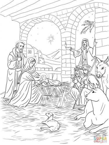 Presepe con Gesù, Giuseppe, Maria e i pastori