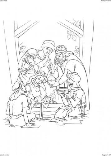 Re Magi portano i doni a Gesù bambino
