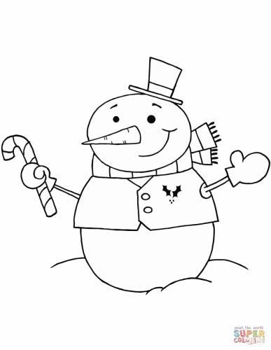 Pupazzo di neve con bastoncino di zucchero