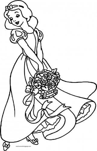 Biancaneve con un cesto di rose