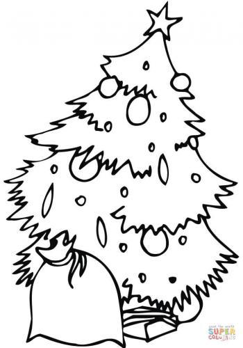albero di natale con sacco regalo