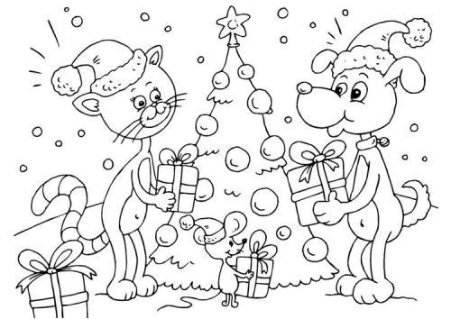cane e gatto a Natale