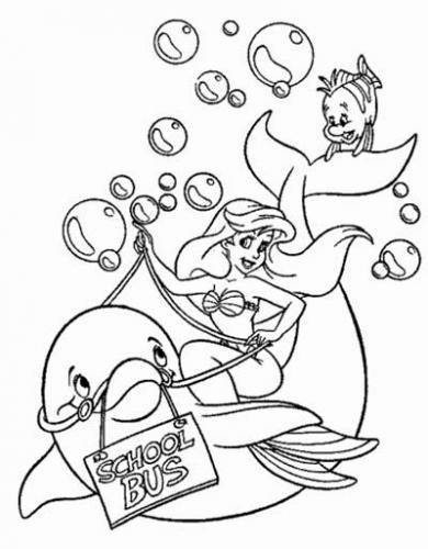 Ariel sul dorso di un delfino