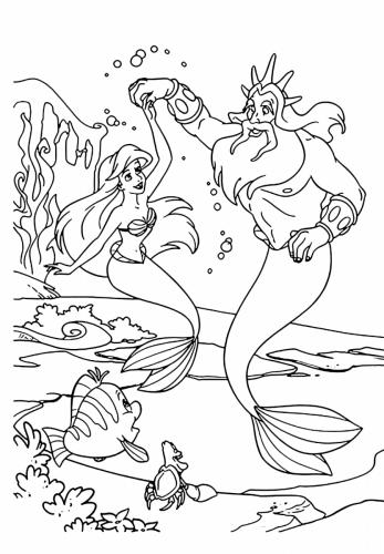 Ariel e re Tritone da colorare