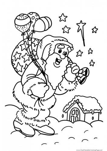 Babbo Natale con campane e palloncini