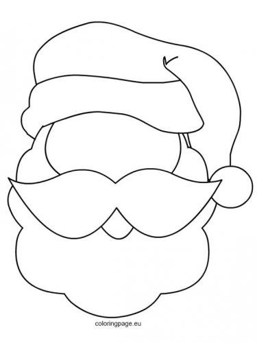 Faccia di Babbo Natale da disegnare e colorare
