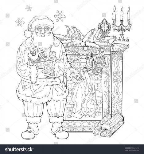 Babbo Natale con regali e caminetto