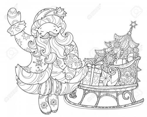 Babbo Natale con slitta e regali