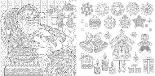 Babbo Natale con gattino e addobbi natalizi stilizzati