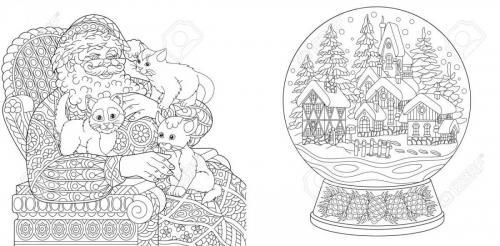 Babbo Natale con gattini e palla di neve