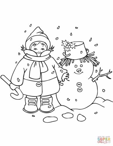 bambino con il pupazzo di neve