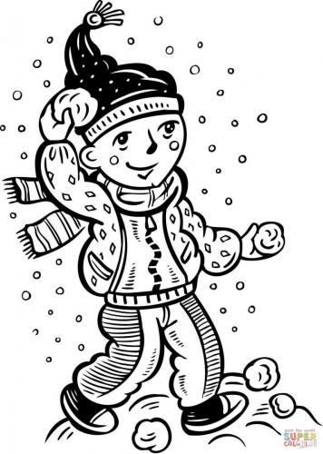 bambino gioca con le palle di neve