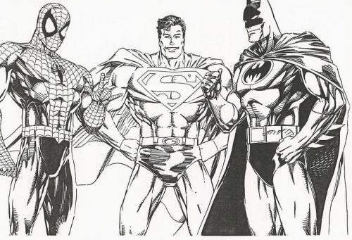 Batman, Spiderman e Superman da colorare