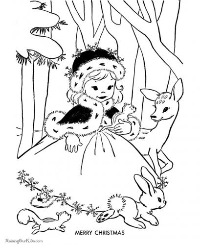 bimba nel bosco a Natale