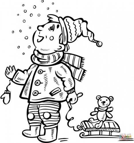 bimbo guarda la neve