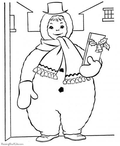 bimbo vestito da pupazzo di neve