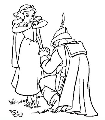 Il cacciatore spiega il piano della regina a Biancaneve