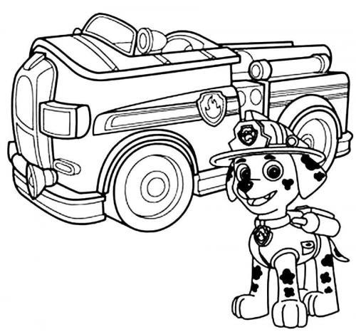 camion Paw Patrol da colorare