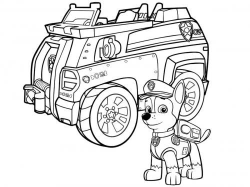 camion Paw Patrol da stampare e colorare