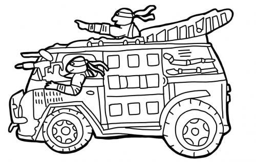 camion Tartarughe Ninja da colorare