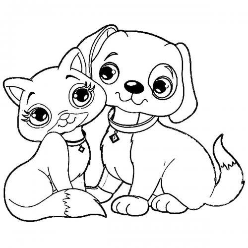 cane e gatto da stampare