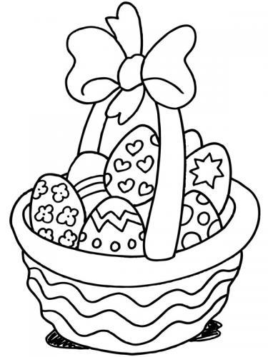 cestino con uova di pasqua da colorare