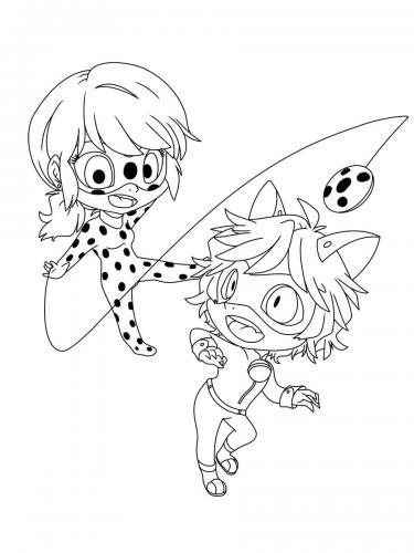 Chat Noir e Ladybug da colorare