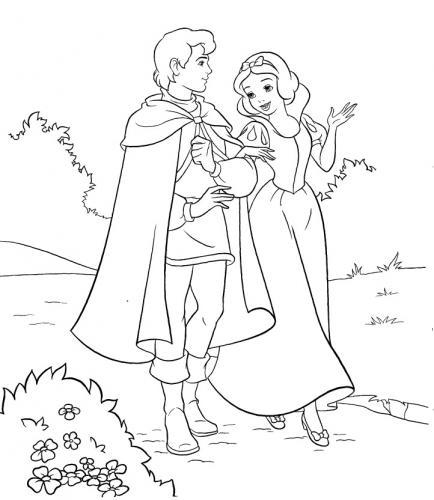 Biancaneve passeggia con il principe