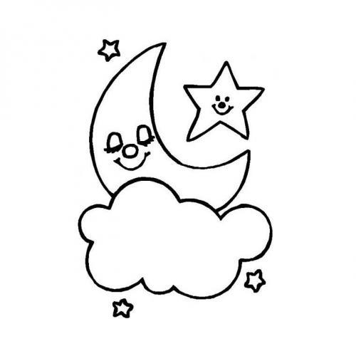 stella luna e nuvola