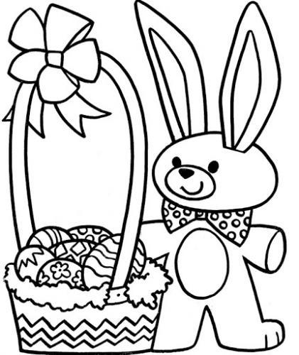 coniglietto con cesto da disegnare