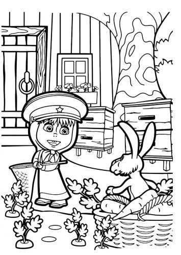 Masha con il coniglio in giardino