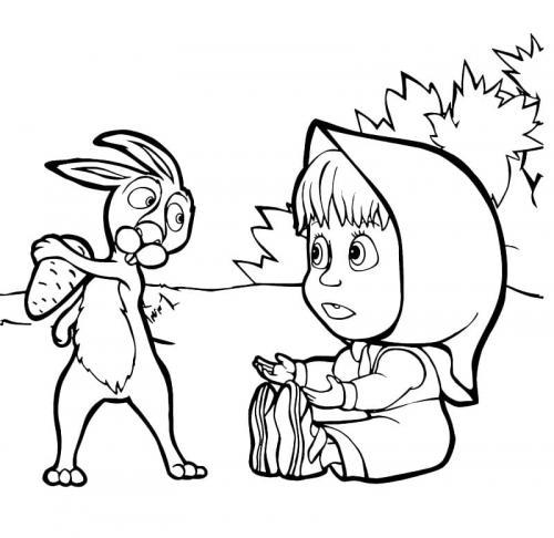 Masha vuole rubare il cibo al coniglio