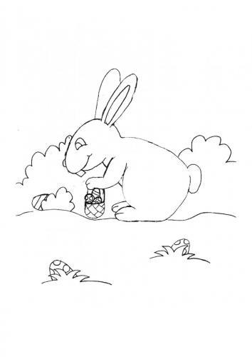 Coniglio Pasqua da colorare
